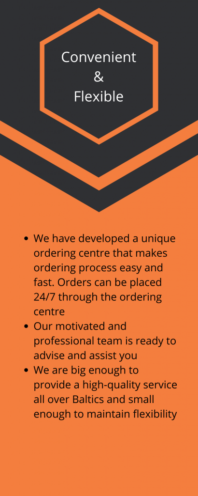 toolmarketing convenient and flexible We have developed a unique ordering centre that makes ordering process easy and fast. Orders can be placed 24/7 through the ordering center Our motivated and professional team is ready to advise and assist you We are big enough to provide a high-quality service all over the Baltics and small enough to maintain flexibility