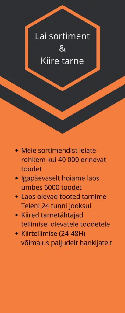 Toolmarketing Lai sortiment  &  Kiire tarne  Meie sortimendist leiate rohkem kui 40 000 erinevat toodet Igapäevaselt hoiame laos umbes 6000 toodet Laos olevad tooted tarnime Teieni 24 tunni jooksul Kiired tarnetähtajad tellimisel olevatele toodetele Kiirtellimise (24-48H) võimalus paljudelt hankijatelt