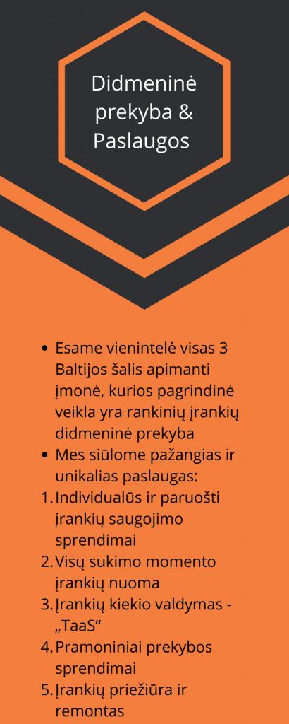 """Didmeninė prekyba & Paslaugos  Esame vienintelė visas 3 Baltijos šalis apimanti įmonė, kurios pagrindinė veikla yra rankinių įrankių didmeninė prekyba Mes siūlome pažangias ir unikalias paslaugas: Individualūs ir paruošti įrankių saugojimo sprendimai Visų sukimo momento įrankių nuoma Įrankių kiekio valdymas - """"TaaS"""" Pramoniniai prekybos sprendimai Įrankių priežiūra ir remontas"""